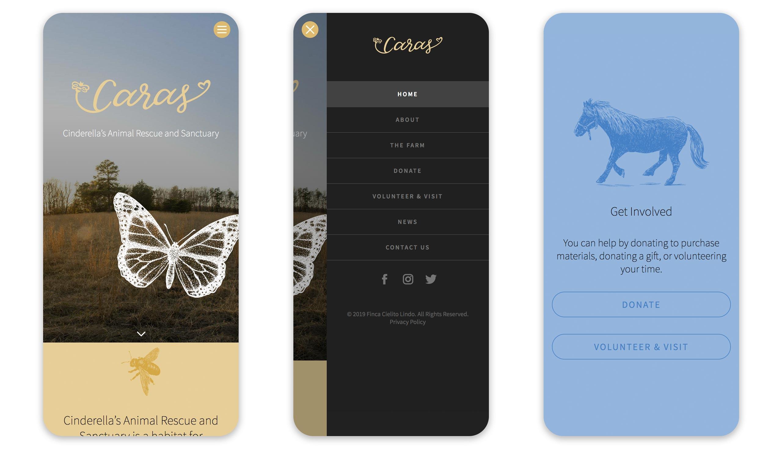 Caras mobile-first website 1