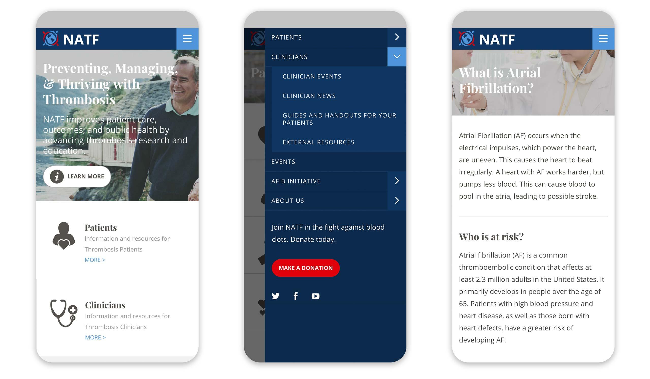NATF mobile screens