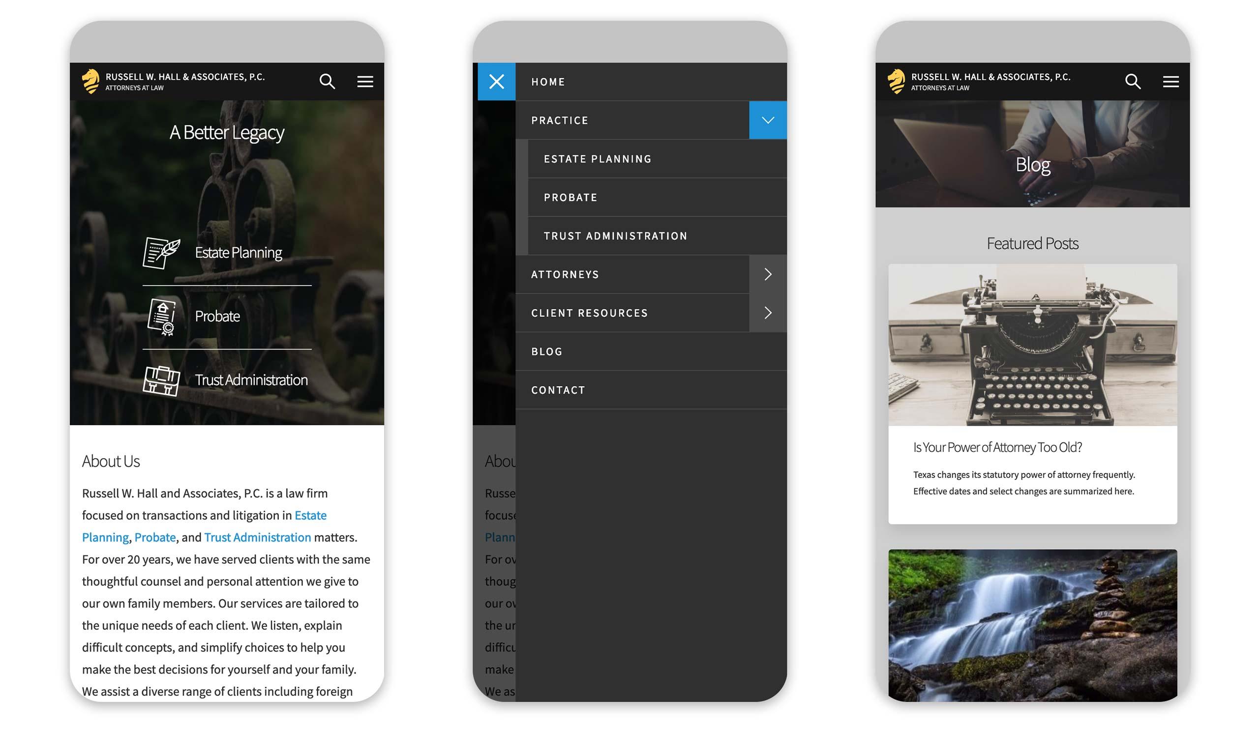 RWHPC mobile screens